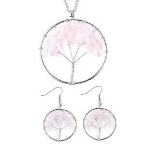Galilea Rose Quartz Earrings and Pendant Necklace